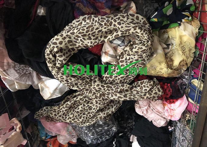 Female Second Hand Scarves / Used Scarves Silk Material For Southeast Asia